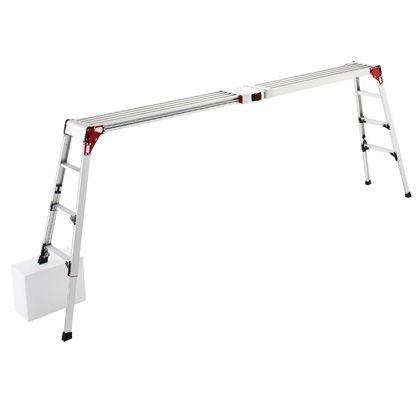 ハセガワ天板・脚部伸縮式足場台DSL型4段 シルバー  DSL1.0-2712