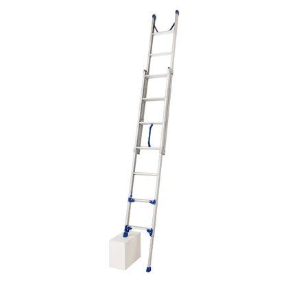 2連梯子 プッシュアップ式 脚部伸縮 LU2 1.0 シルバー 設置寸法;幅:36×縮長:242(全長:415~448)×厚み:11.6cm LU2 1.0-45 1 台