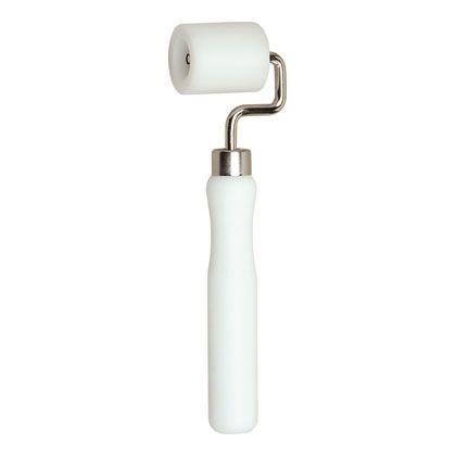 壁紙施工道具 ジョイント押さえローラー 小 ホワイト ローラー巾40mm径35mmφ全長203mm 197-34
