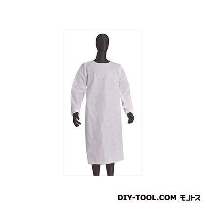 不織布作業衣袖付エプロン 白 フリーサイズ BNW-E