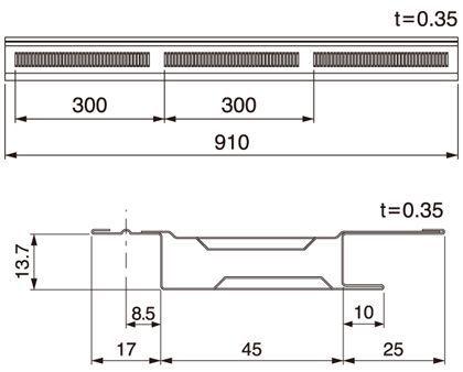 軒天換気材 本体 ホワイト  FV-N12F-L09-WT 6 本セット