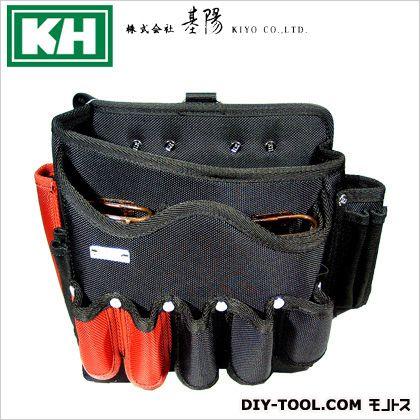 KH超高密度シリーズウェーブ固定ポケット付バッグ大 黒/緋 W260 H210 D160 3000ZLKR