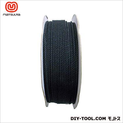 【送料無料】まつうら工業 綿ロープドラム巻 黒 3mm×300m 1巻