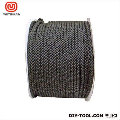 【送料無料】まつうら工業 綿ロープドラム巻 黒 6mm×200m 1巻