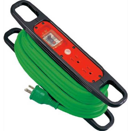 ハンドリール100V3芯×10m緑アース過負荷漏電しゃ断器付   HR-EK102-G