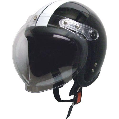 スモールジェットヘルメット 回転BBシールド付 ブラック/ホワイト フリー 79122020