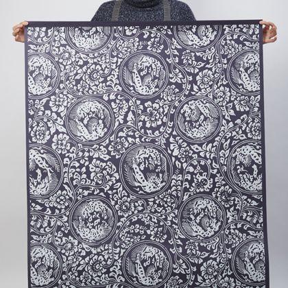獅子地紋 ふすま紙 紺(こん) 紙全体サイズ200cm×97cm FS103 1 枚