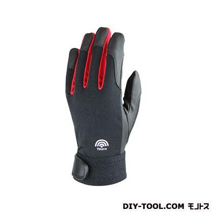 スマートフォン(スマホ)対応PU(ピーユー)合成皮革作業手袋 ブラック L SH-507 L