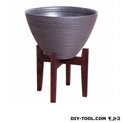 プラスガーデン 睡蓮鉢シェル木製スタンド付 ブラック 530-32