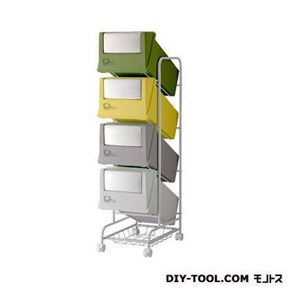 分別ごみ箱4分別ごみ箱ステンレスフラップコンテナスタイル3CS3-80SMX4 ミックス(グリーン・イエロ・グレー)  226906