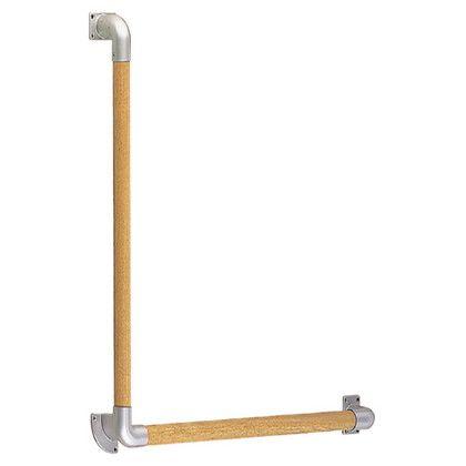 【送料無料】シロクマ L形丸棒手すり シルバー/Lオーク 600×600mm BR-513 1組