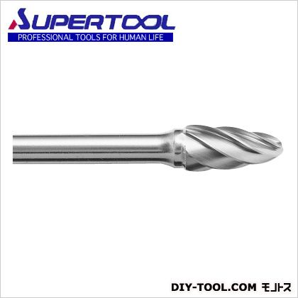 スーパーツール スーパー超硬バーシャンク径6ミリ(砲弾型)アルミカット(刃径:9.5) 軸径6mm SB3C02SA