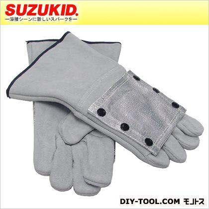 スズキッド 耐熱溶接用革手袋(皮手袋)アルミ手甲付耐熱皮手袋 P-487