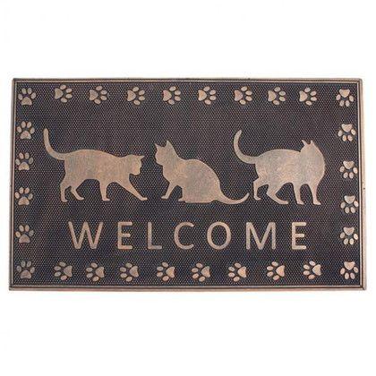 玄関マット ラバーマット レクト WELCOME CAT ブラック/グレー 約縦45×横75(cm) FBGY4030