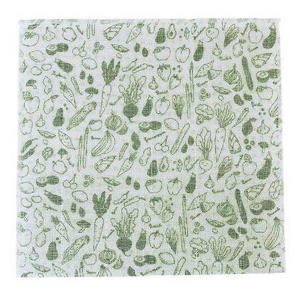 スパイス 蚊帳とガーゼのふきん 野菜 布巾 グリーン 約縦30×横30(cm) BHLG2030