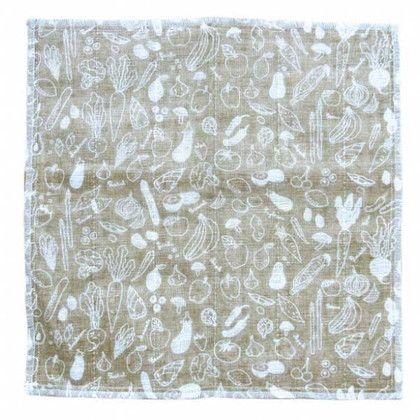 スパイス 蚊帳とガーゼのふきん 野菜 布巾 ブラウン 約縦30×横30(cm) BHLG2040