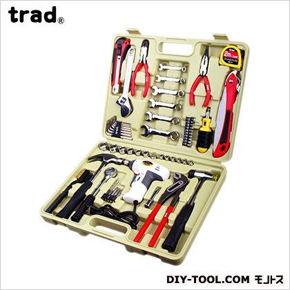 【送料無料】TRAD 工具 セット(ACドライバー付) H310×W405×D78mm TS-56A 工具箱 ツールセット 手動工具セット