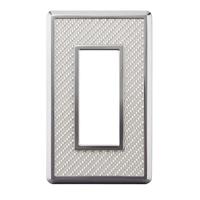 カーボンファイバースイッチ・コンセントプレート ホワイト 78×128×8.6mm PXP-CF01-WT