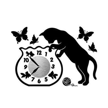 Wall Clock Sticker ウォールクロックステッカー キャットフィッシュボウル 時計/約幅10×高さ10(cm)ステッカー/約29×41(