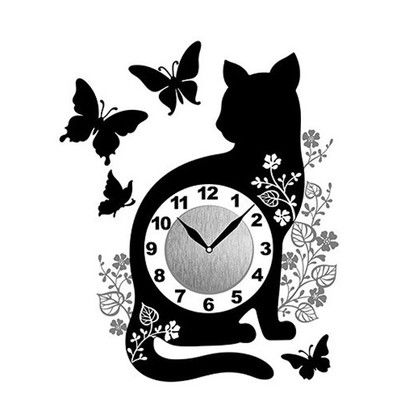 Wall Clock Sticker ウォールクロックステッカー キャットバタフライ 時計/約幅10×高さ10(cm)ステッカー/約29×41(cm)