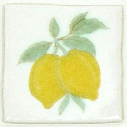 手づくりデコレーションタイルレモン  約97×97×7mm W-003
