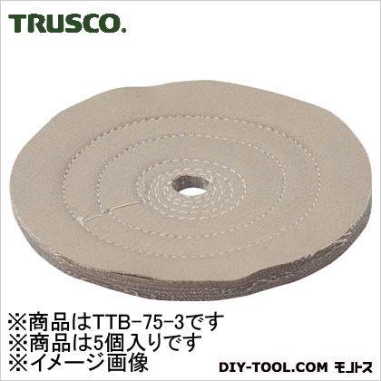 トラスコ(TRUSCO) 茶カツ仕上げバフ外径Φ75X穴径9.53mm5個入 TTB-75-3 5個