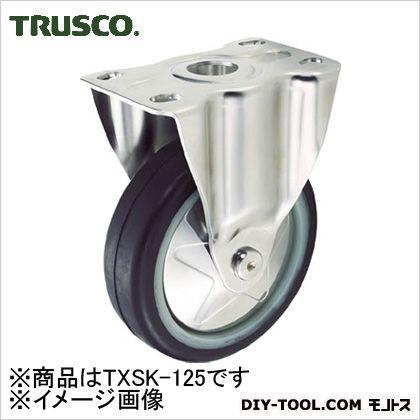 プレス製省音キャスターゴム車輪・ステンレス金具固定Φ125   TXSK-125