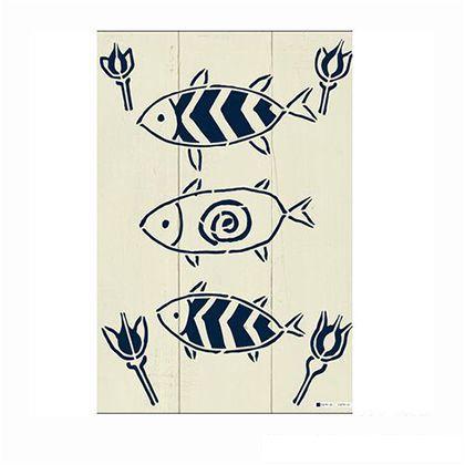 小屋女子計画ステンシル「FishGarden」  36×55cm KJ-10