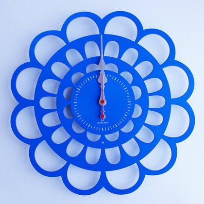 ヤマト工芸 掛け時計 BOTAN ブルー 幅30×奥行2.5×高さ30(cm) YK13-101