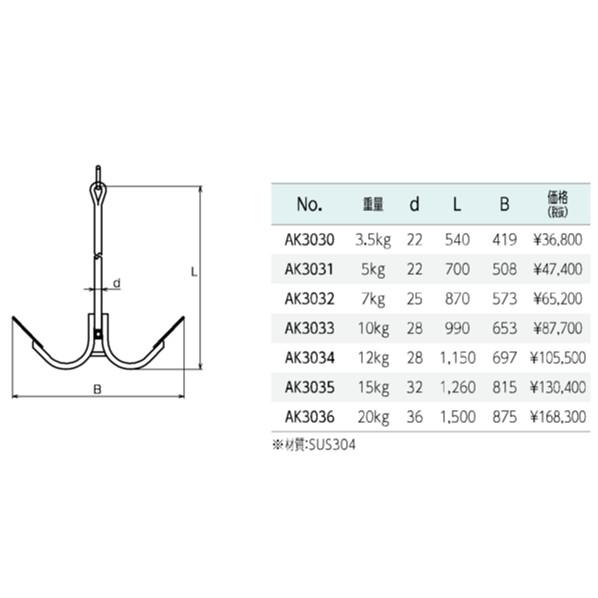 ボートアンカー(ストック捻込み式)3.5
