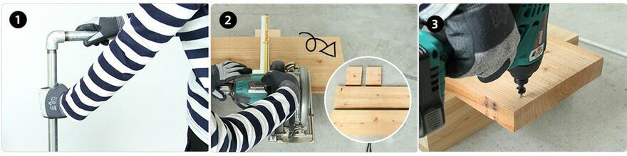 DIY FACTORY オリジナル 配管(ガス管)パーツで作る!おしゃれなハンガーラックキット  約W850×H1,310×D205mm