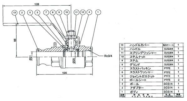"""ボールバルブ(カップリング式/ステンレス) 3/4"""" (EA462BZ-6)"""