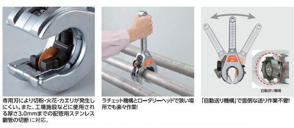 35-66mm鉄管用パイプカッター(ラチェット式)