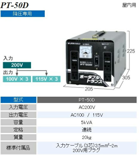 AC200V→AC100V,115V/5kvA降圧トランス