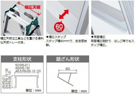 長谷川工業 はしご兼用脚立 RS2.0-21