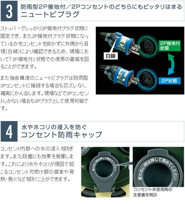 【ハタヤ】 防雨型サンタイガーレインボーリール「漏電過負荷付」 (BX-301K)アース付 電工ドラム