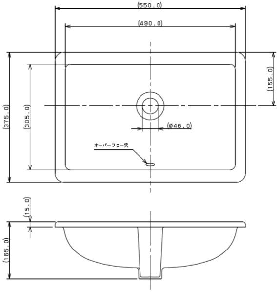 カクダイ 角型洗面器  6.5L #VR-5475B0030642