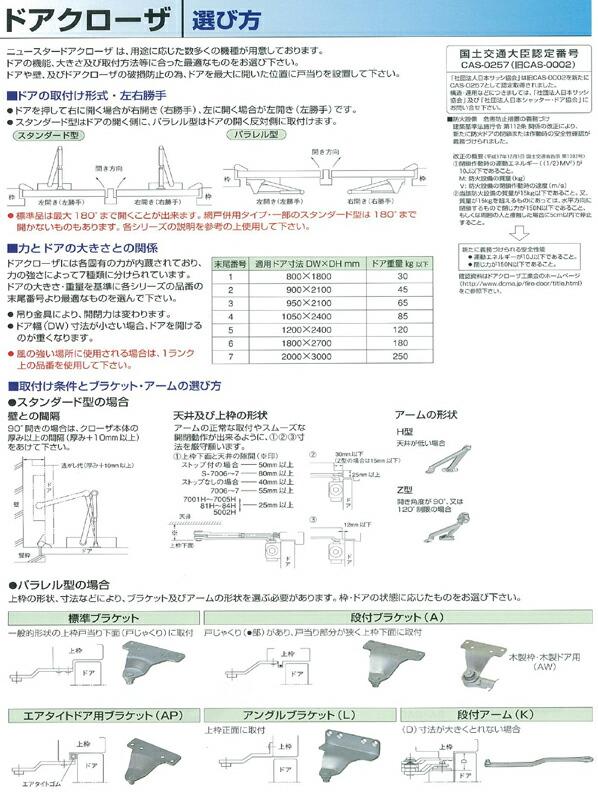 ドアクローザー パラレル ストップ付 N-52 段付ブラケット