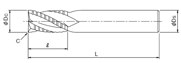 WXコート超硬ラフィングエンドミル