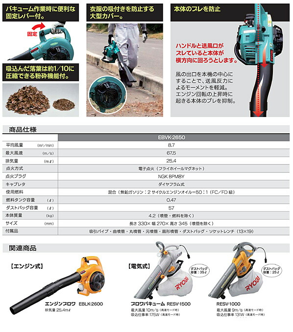 RYOBI/リョービ エンジンブロワバキューム   EBVK-2650