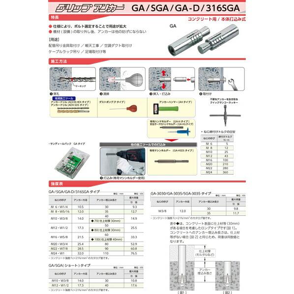 ステンレス製グリップアンカー SGAタイプ