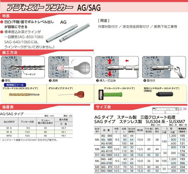 ステンレス製アジャストアンカー SAGタイプ