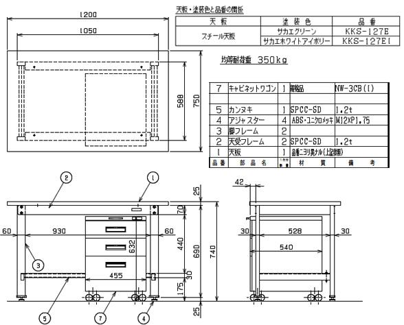 軽量作業台KKタイプ・ キャビネットワゴン付