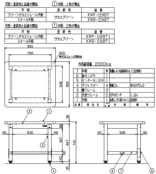 重量作業台KWタイプ中板2枚付