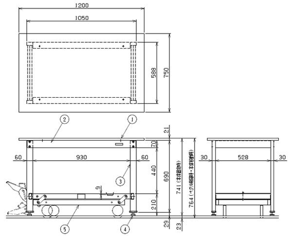 軽量作業台KKタイプ・ ペダル昇降移動式