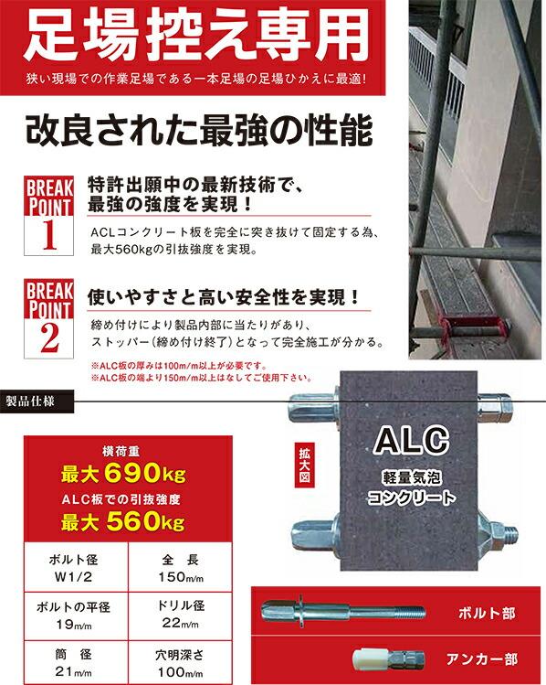 ALC用足場控え専用アンカー テンステップ セット
