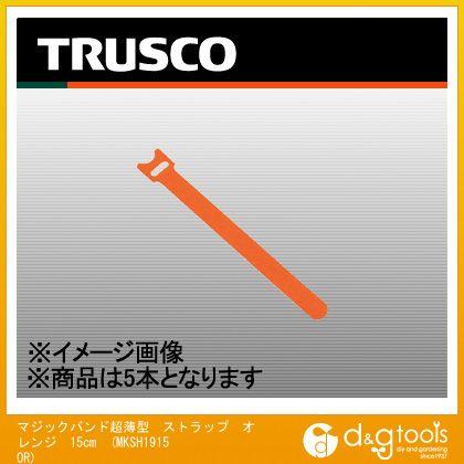 TRUSCO マジックバンド超薄型ストラップ15cmオレンジ(5本入) MKSH-1915-OR 5本