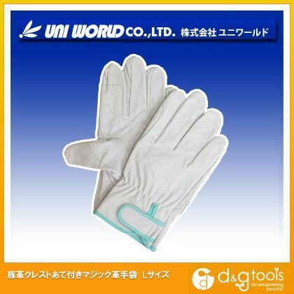 豚革クレストあて付きマジック革手袋  L 330-L