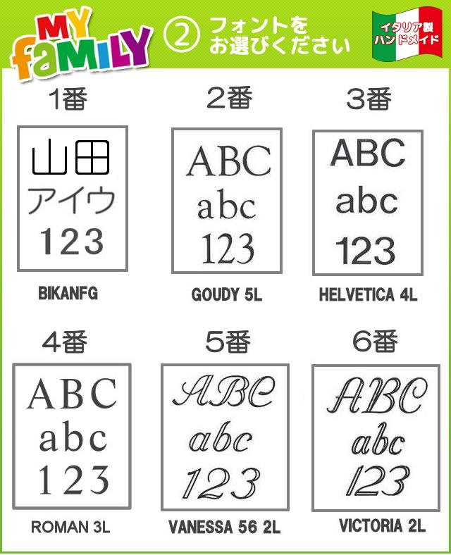 MyFamilyはローマ字、数字に加えて、漢字、カタカナにも対応しております。お好きなフォントをお選び下さい。