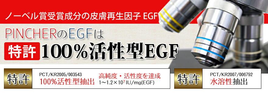PINCERのEGFは特許100%活性型EGF!!